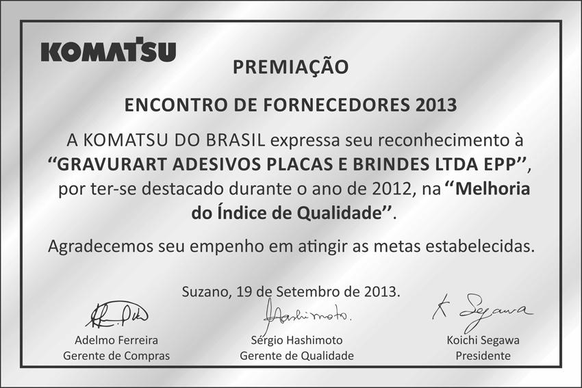 Certificado de Qualidade Komatsu